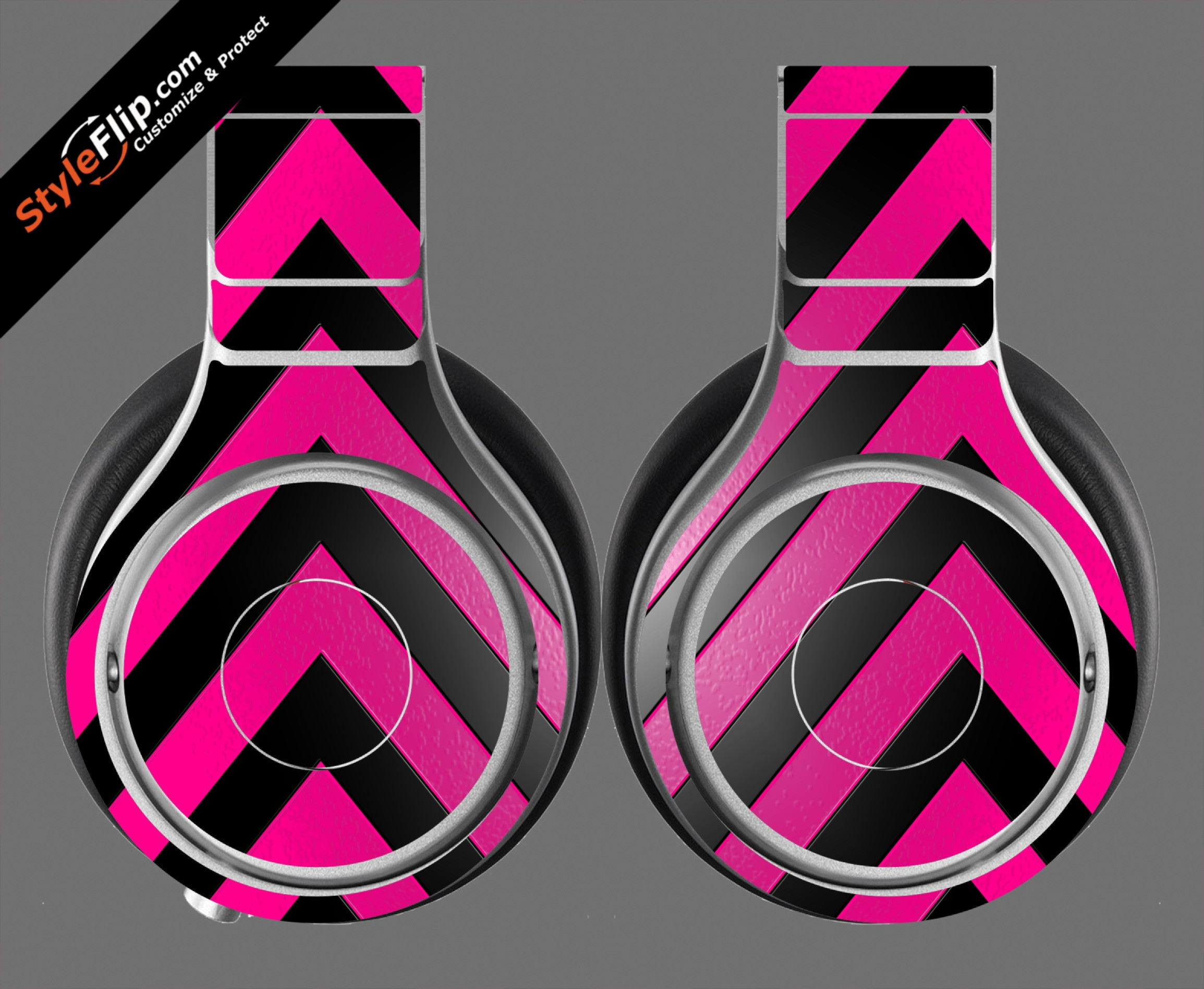 Black & Hot Pink Chevron Beats By Dr. Dre Beats Pro Model