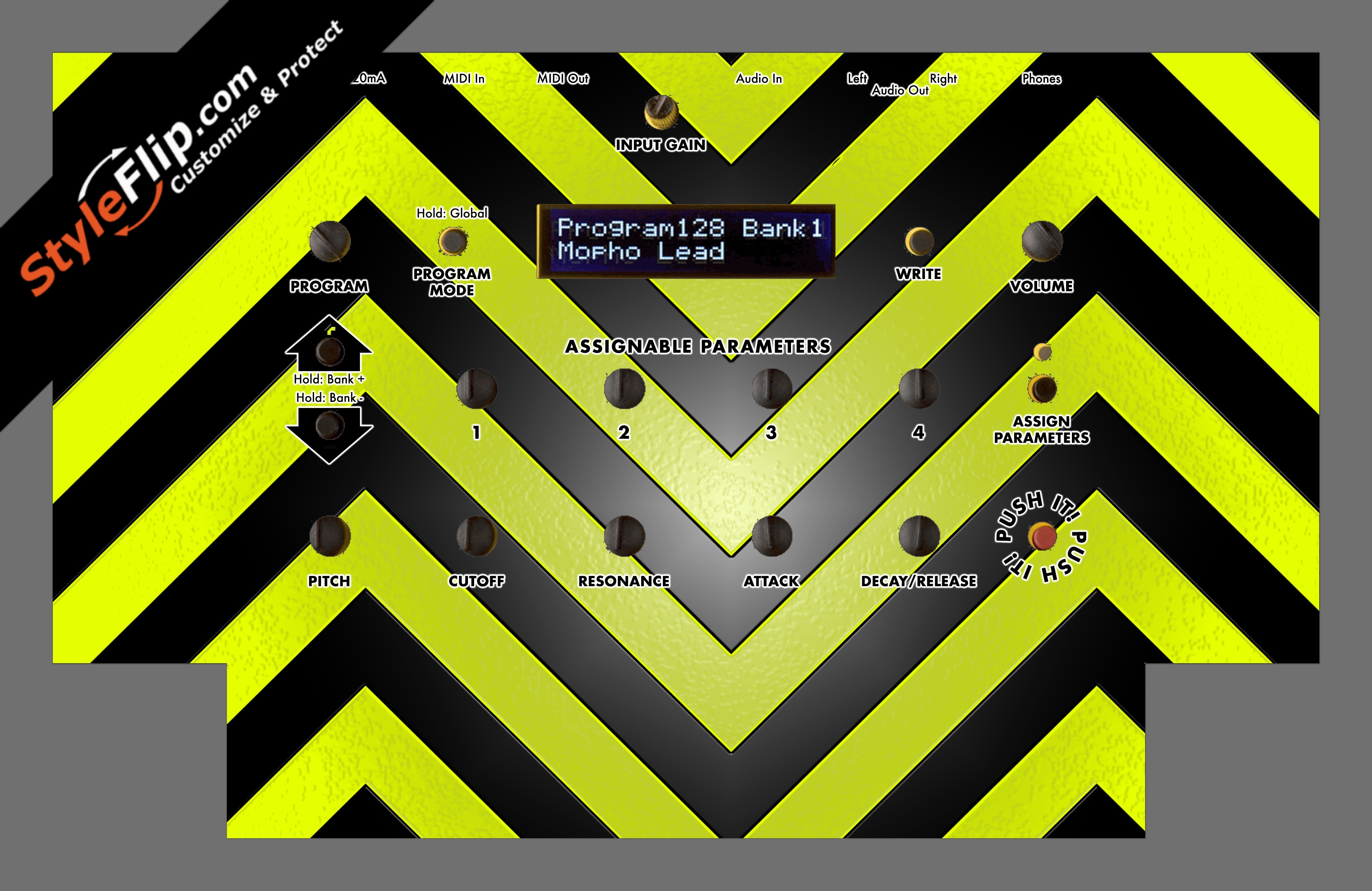 Black & Yellow Chevron Dave Smith Instruments Mopho