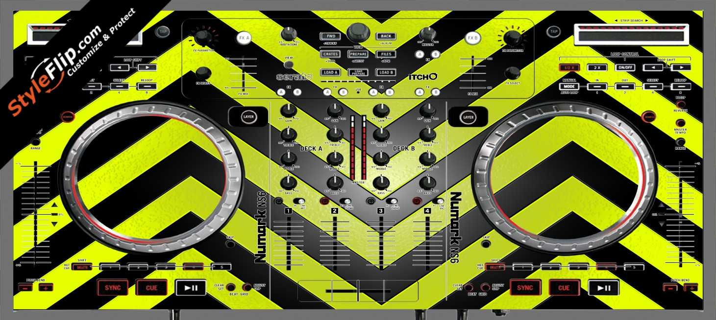 Black & Yellow Chevron Numark NS-6