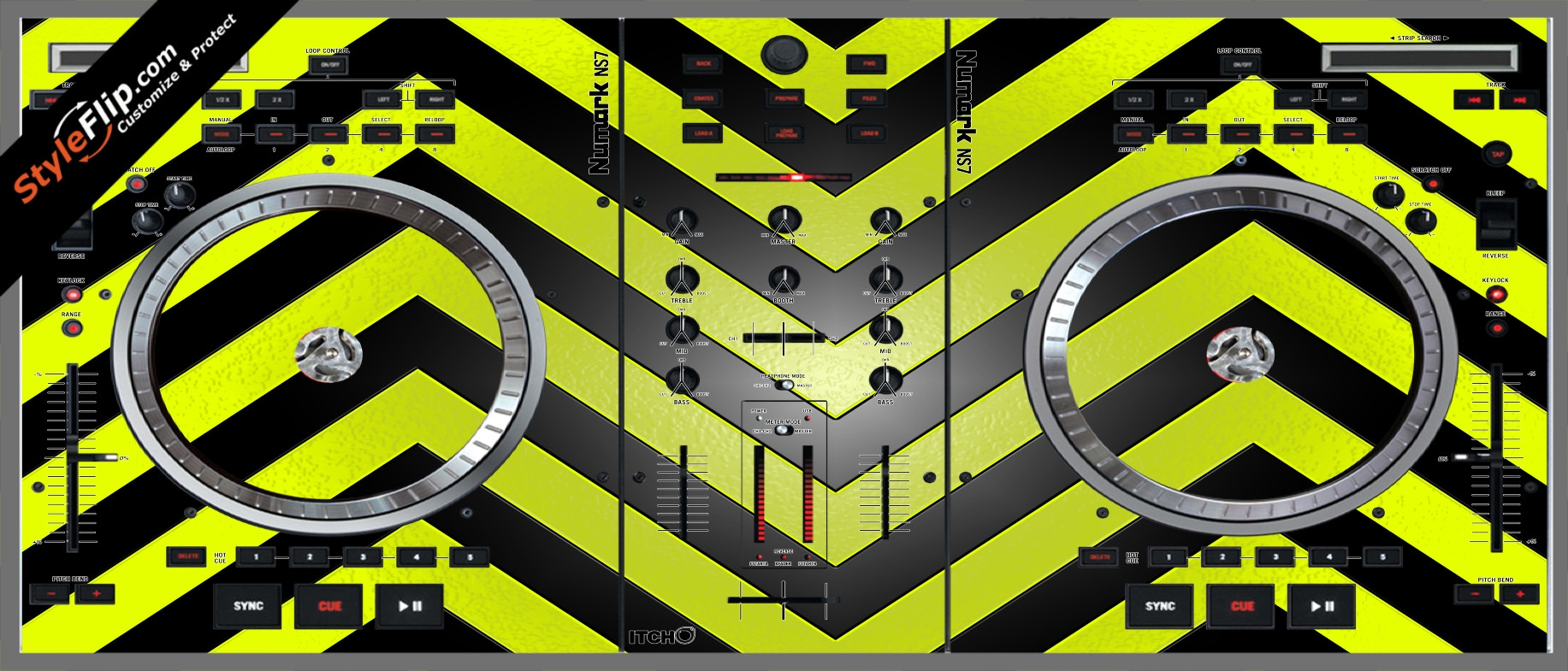 Black & Yellow Chevron Numark NS-7