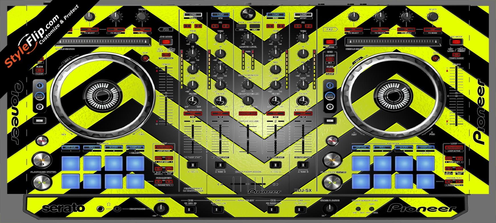 Black & Yellow Chevron Pioneer DDJ-SX