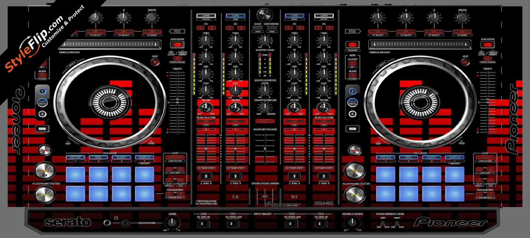 Red Equalizer Pioneer DDJ-SX