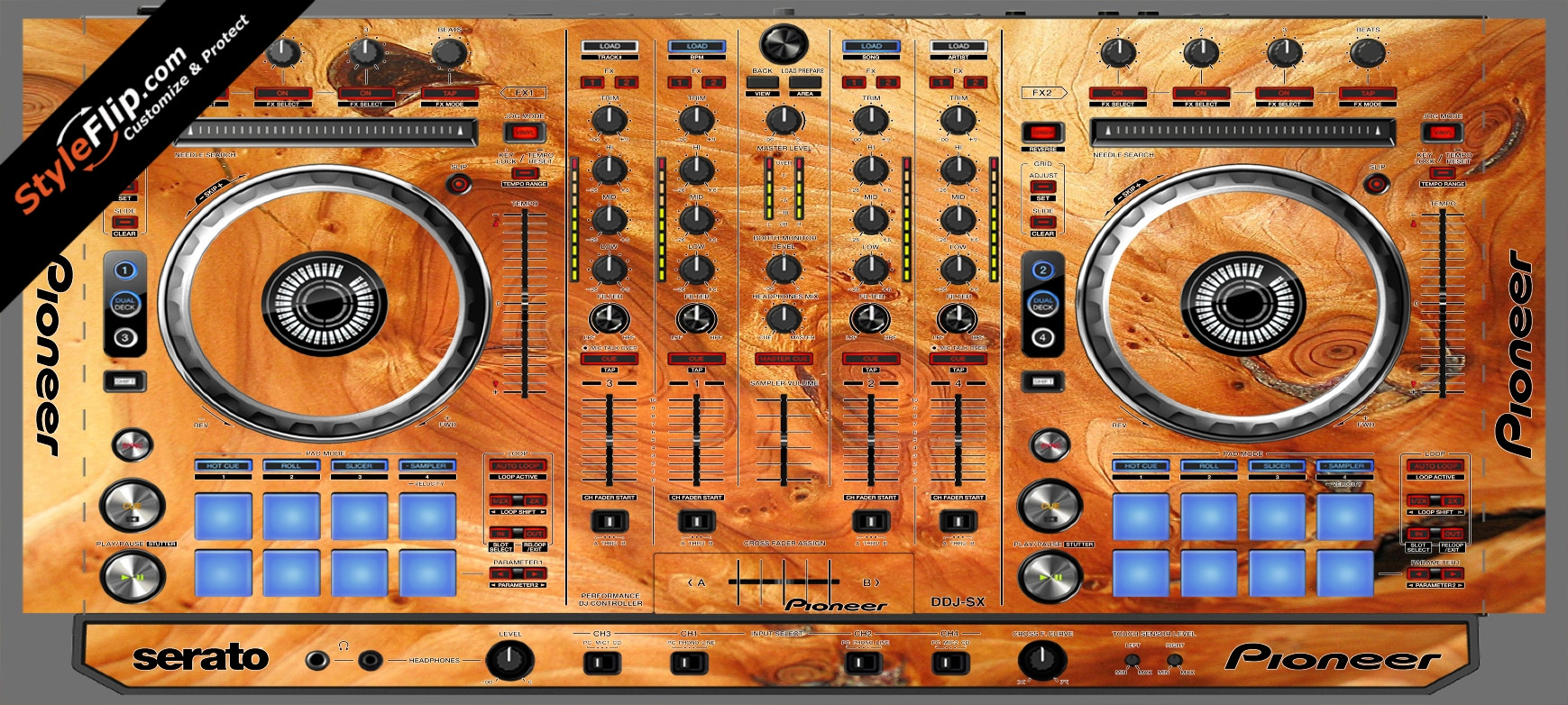 Stained Wood Pioneer DDJ-SX