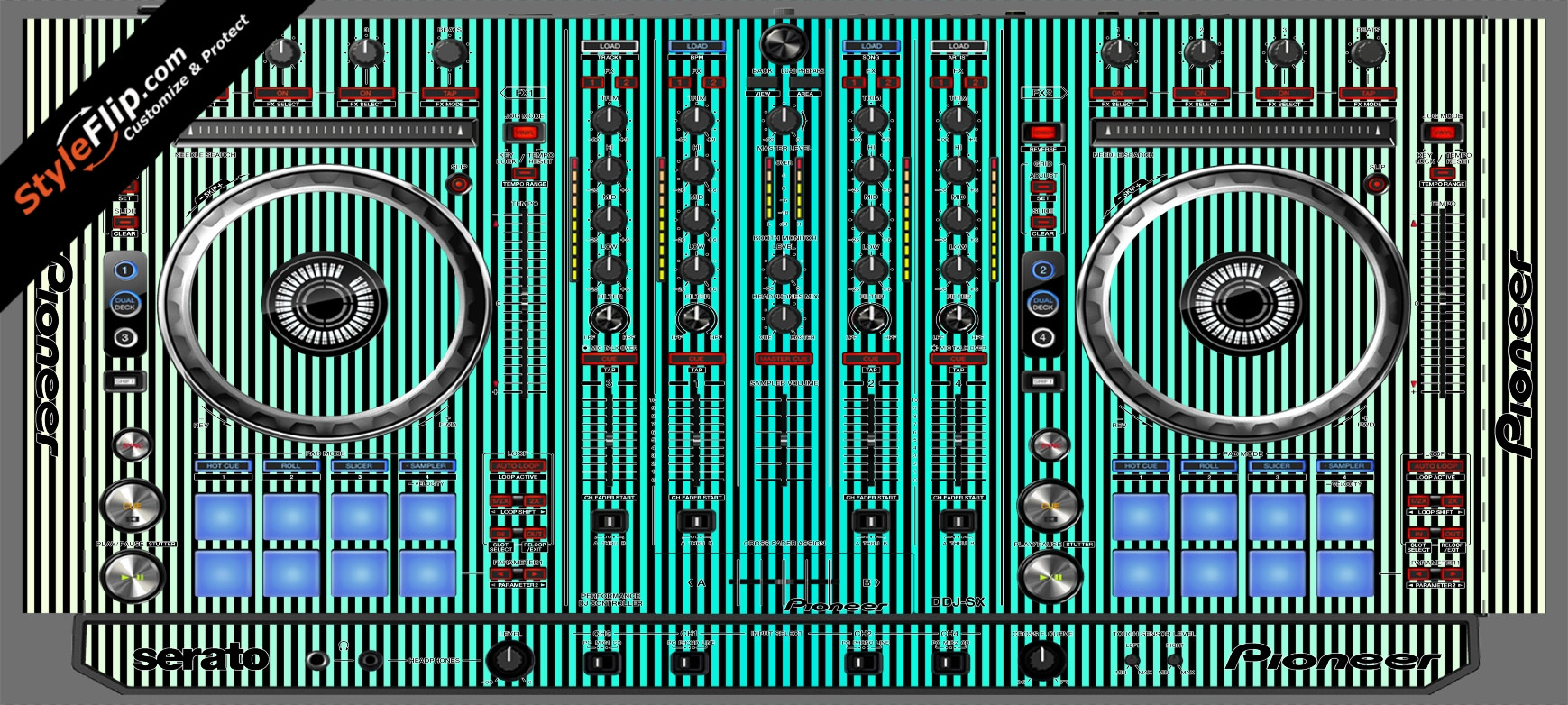 Teal Stripes Pioneer DDJ-SX