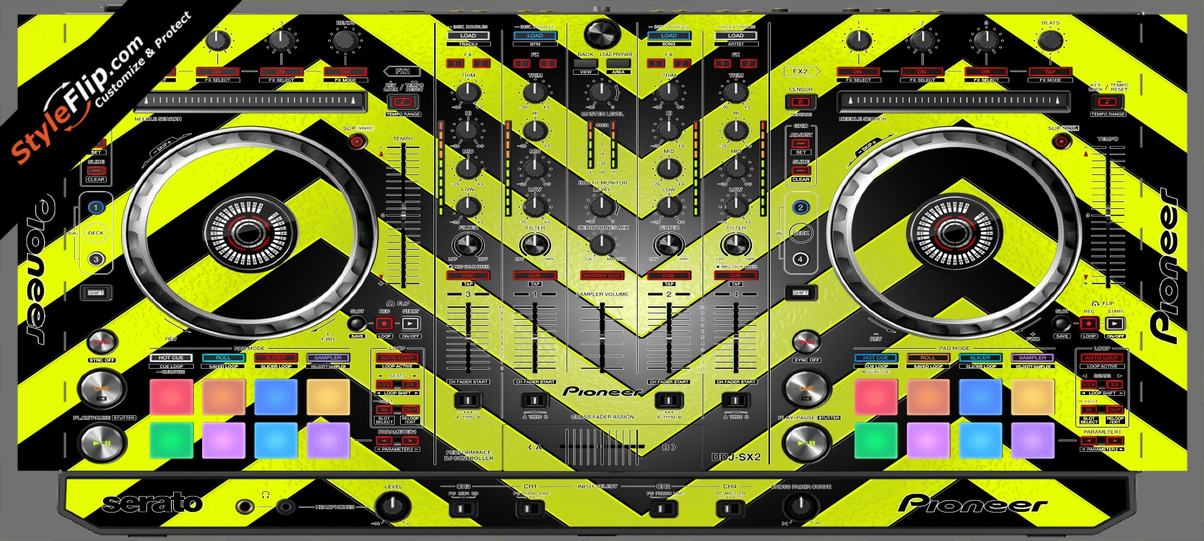 Black & Yellow Chevron Pioneer DDJ-SX2