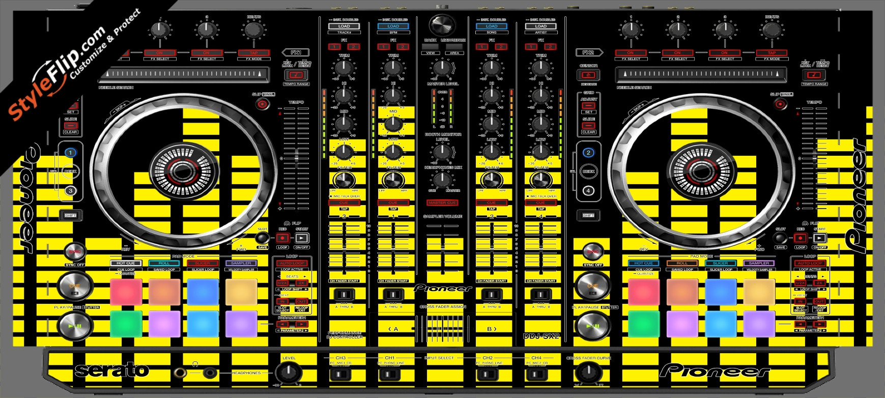 Yellow Equalizer  Pioneer DDJ-SX2