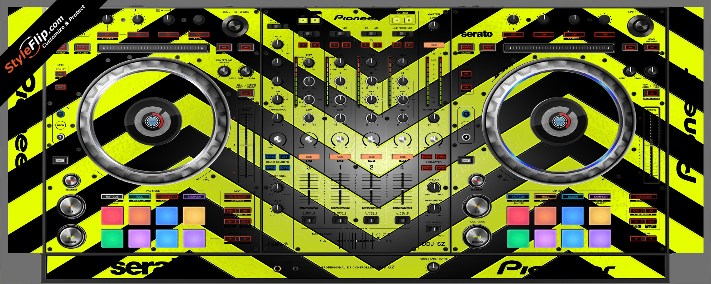 Black & Yellow Chevron Pioneer DDJ-SZ