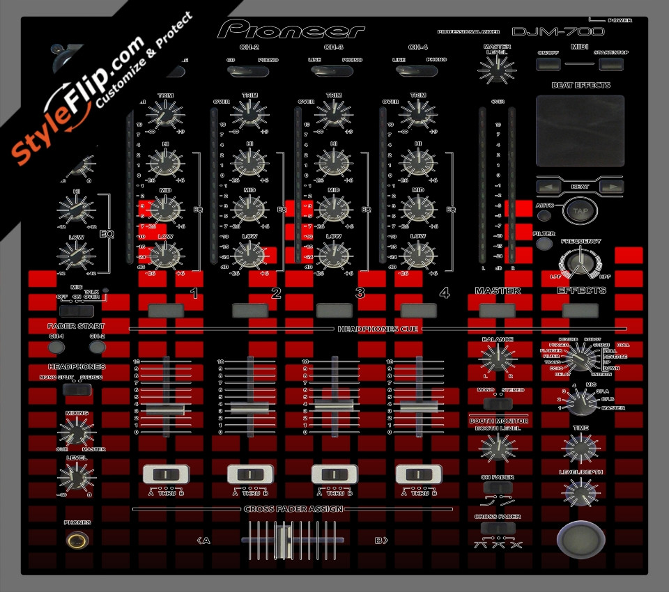 Red Equalizer Pioneer DJM-700 Skin, Decals, Covers & Stickers  Buy