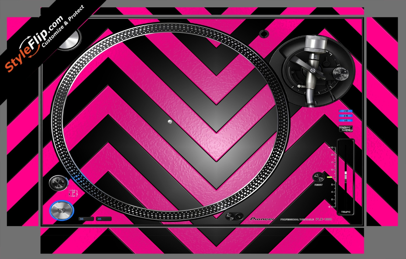 Black & Hot Pink Chevron Pioneer PLX-1000
