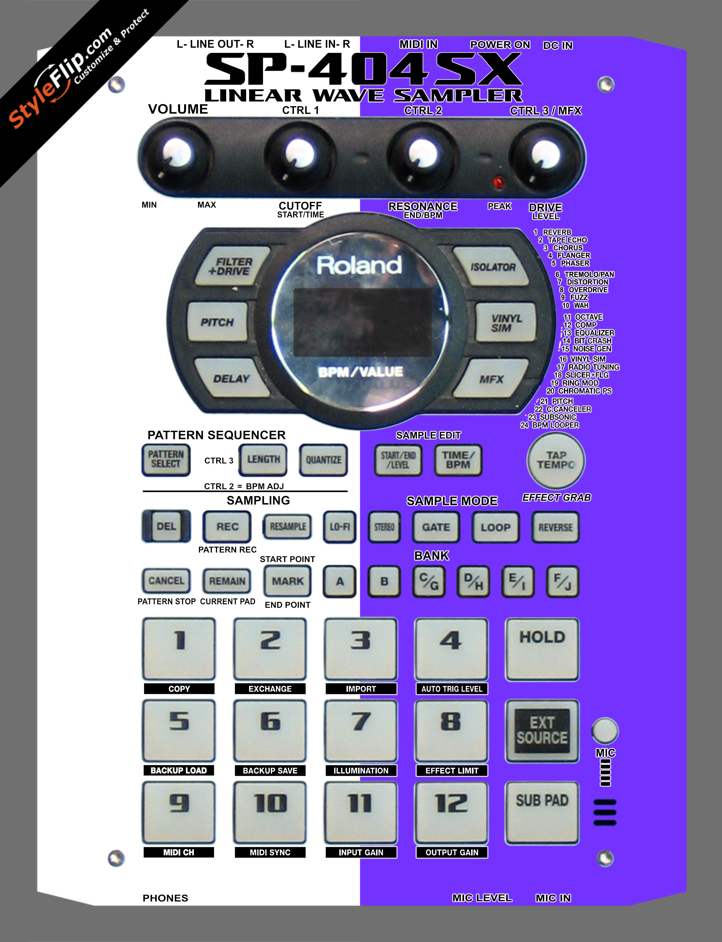 Purple & White  Roland SP-404 SX