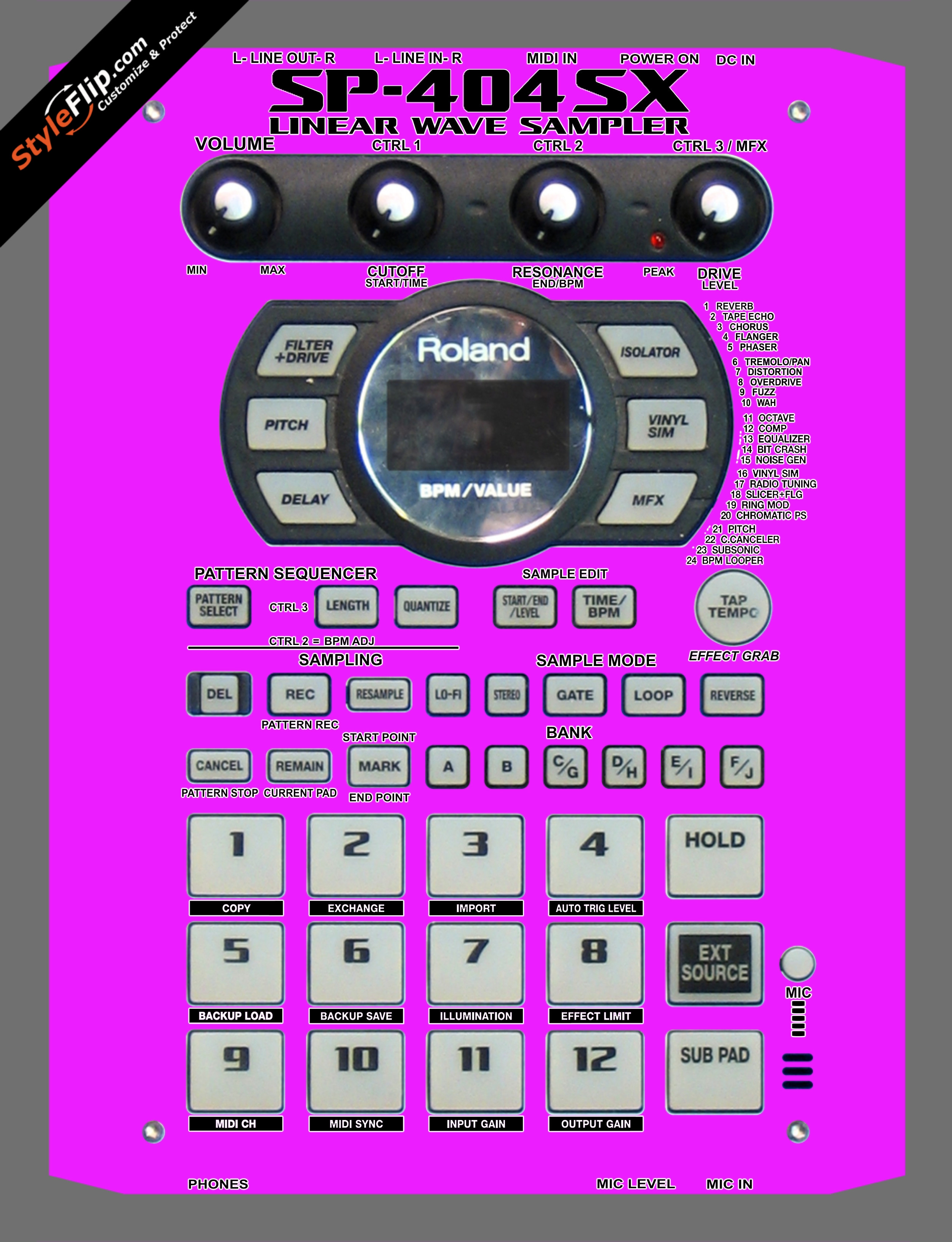Solid Pink Roland SP-404 SX