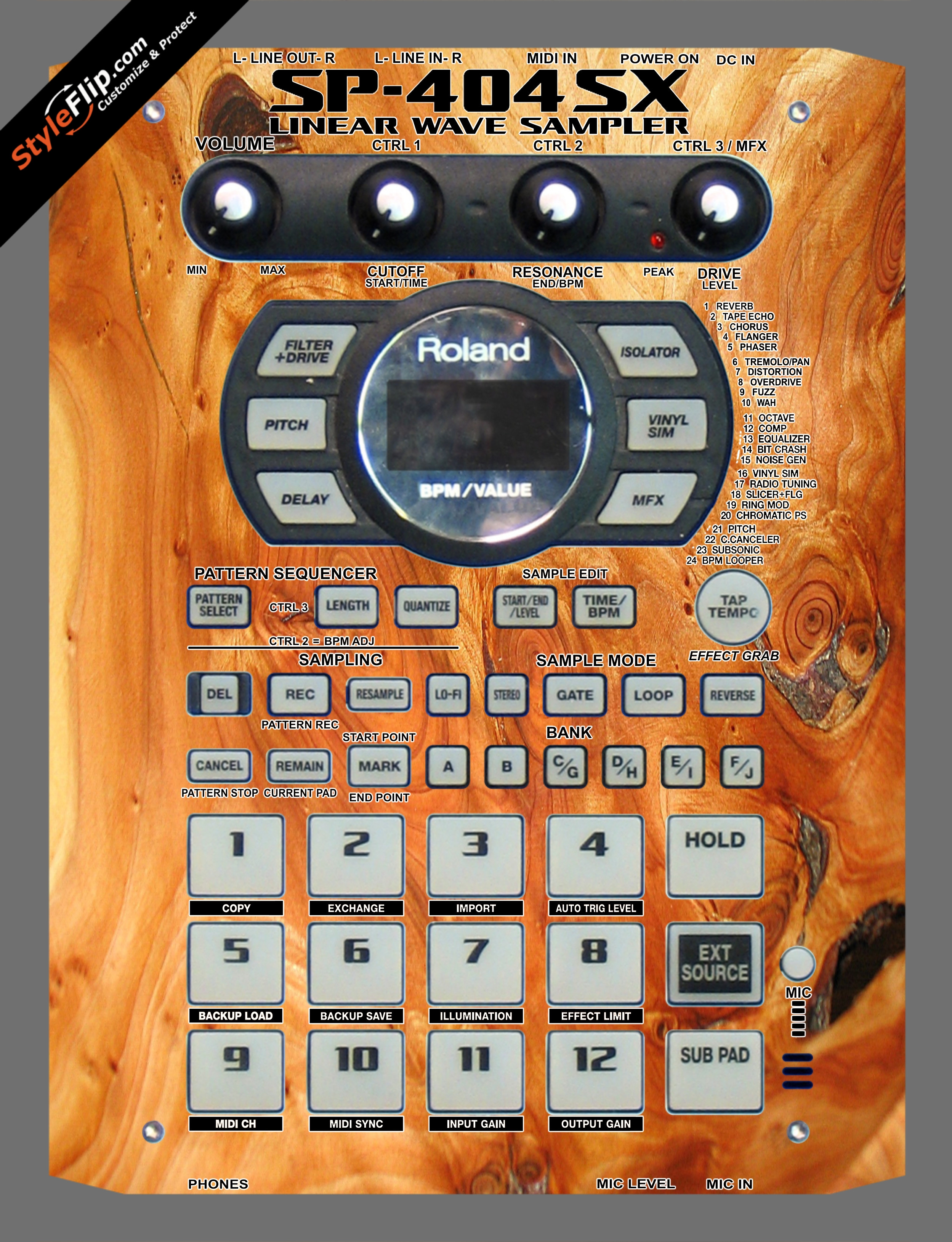 Stained Wood Roland SP-404 SX