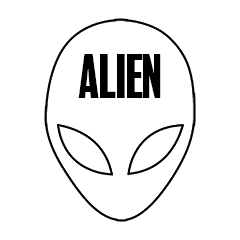 "Custom Stickers 3""x4"" Alien"